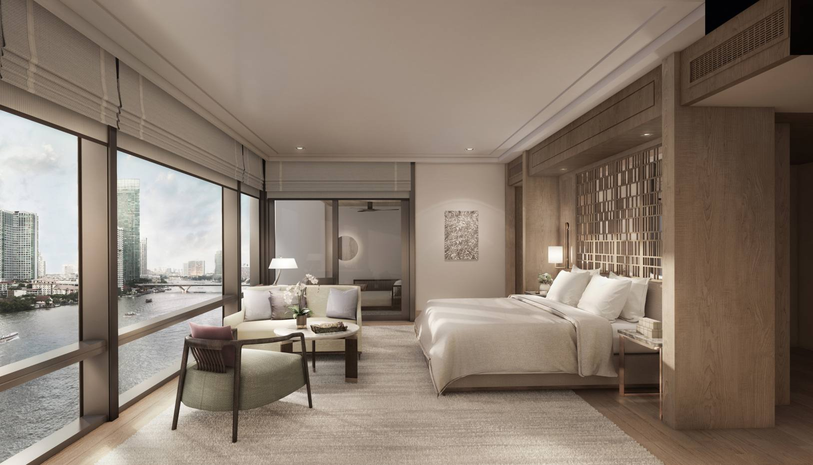 The Capella Bangkok's elegant rooms look out over the Chao Phraya river