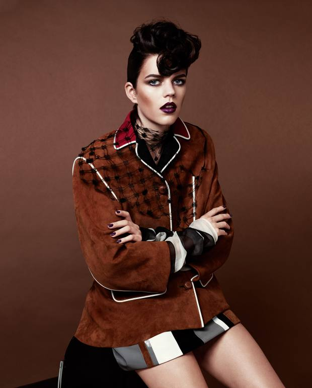 Prada suede jacket, £2,535, suede and patent leather skirt, £1,310, and chiffon neckpiece, £305