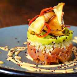 Tian of tuna tartare, white quinoa and guacamole, served with chipotle mayonnaise