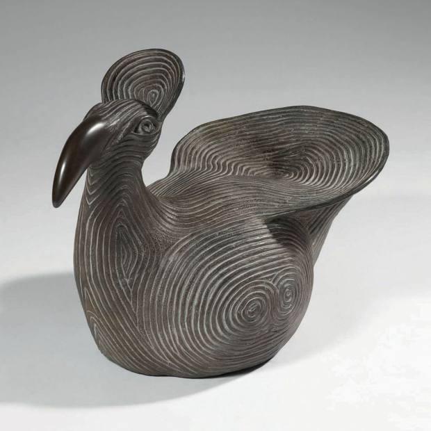 Sitting Bird, Glyfada, 1985, bronze by Do König Vassilakis, €35,000