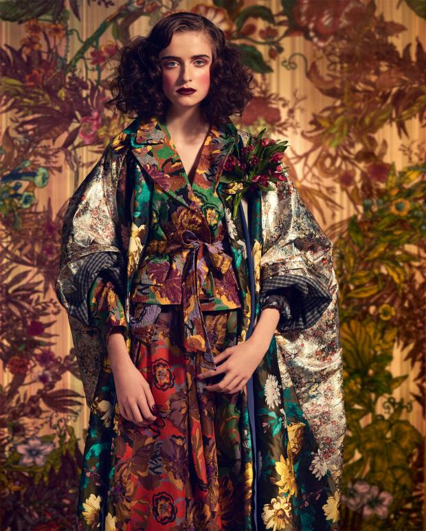 Andreas Kronthaler for Vivienne Westwood silk Ravenna cape coat, £7,500. Duro Olowu rayon/silk jacket, £2,300, and organza skirt, £2,500. Background: Timorous Beasties Opera Botanica superwide wallpaper, £126 per m