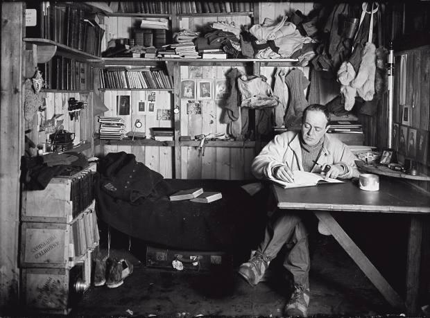Scott writes his journal in the Winterquarter Hut, October 7 1911.