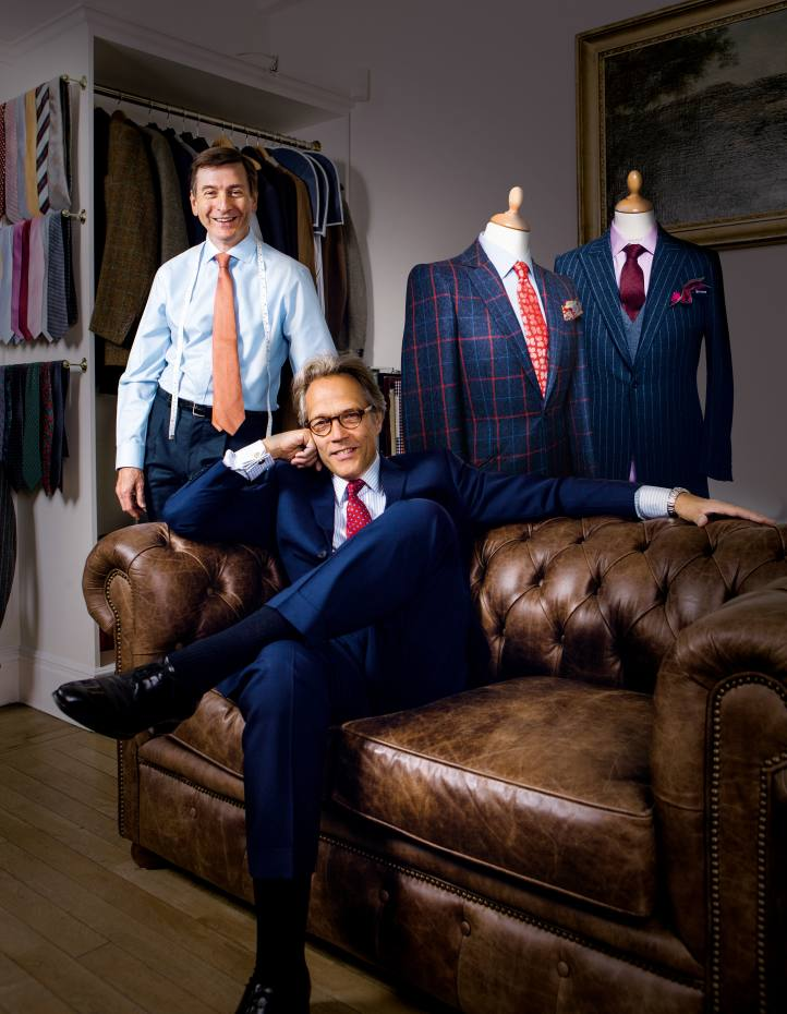 Lord March (seated) with tailor Terry Haste at Kent Haste & Lachter, Mayfair, wearing a Kent Haste & Lachter three-button, single-breasted Panama-wool suitBackground from left: check tweed jacket and West of England striped flannel jacket