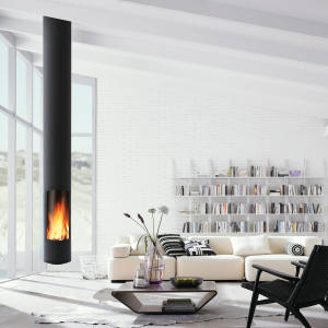 Focus's periscopic steel, glass andvermiculite heater, from £8,690, houses the world's first suspended wood-burning sealed fire