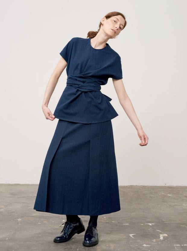 Wool Corsa top, £250, and cotton/wool Trinity skirt, £350