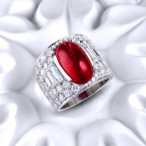 Bulgari Burmese ruby diamond Trombino ring, estimated $15,000-$25,000