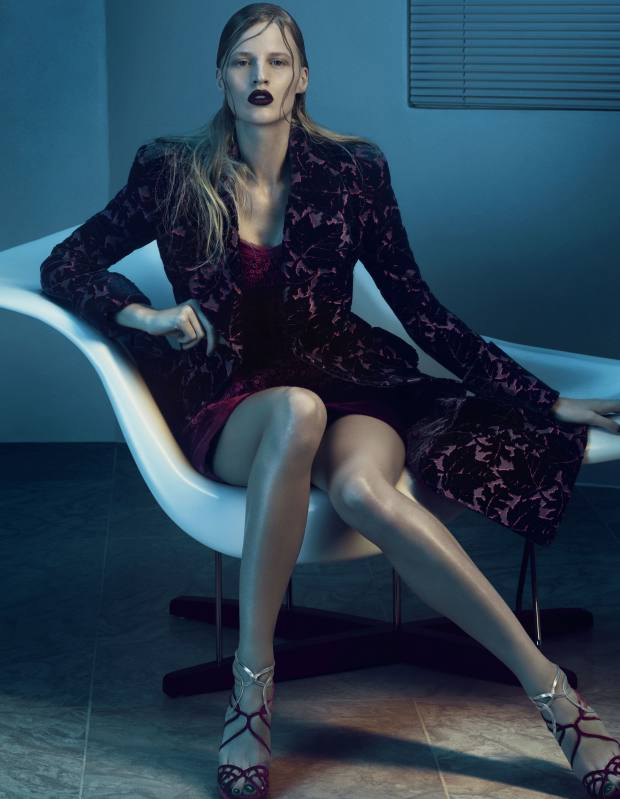 Velvet devoree coat, from a selection, about £6,000, and velvet bustier dress, from a selection, about £3,555, both by McQ Alexander McQueen. Velvet and metallic leather sandals, £595, by Jimmy Choo