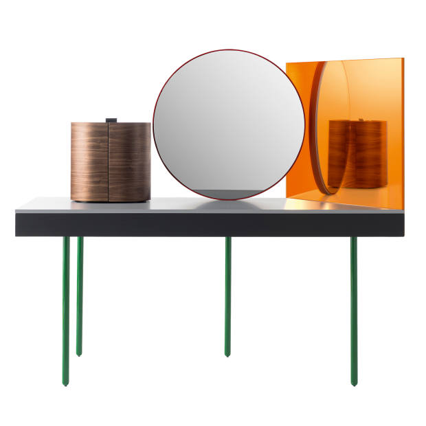 Doshi Levien for BD Barcelona ash and steel Chandlo dressing table with mirrors and walnut jewellery box, €8,644
