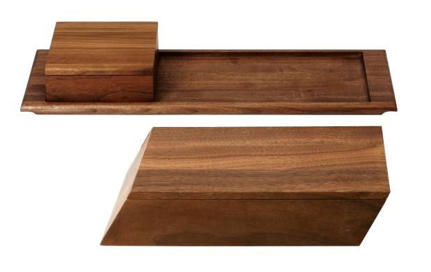 BassamFellows walnutSoft Series short box, $260, and tray, $190, and Sharp Series long box, $310