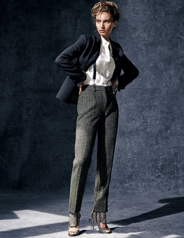 Mulberry wool Harris jacket, £845, wool houndstooth Delia trousers, £400, and leather Puzzle braces, £295. Thomas Pink cotton Darcy shirt, £99. Jimmy Choo embroidered lace and suede Kia 110 shoes, £1,295