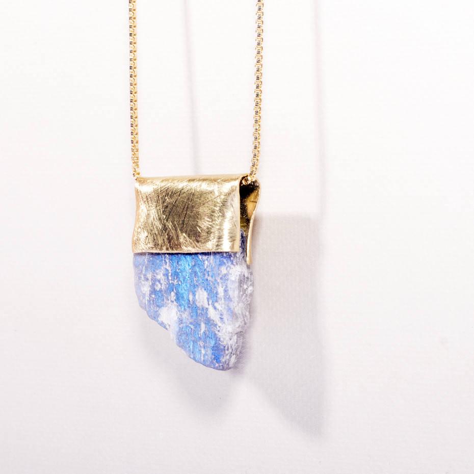 Labradorite and brass pendant, €180