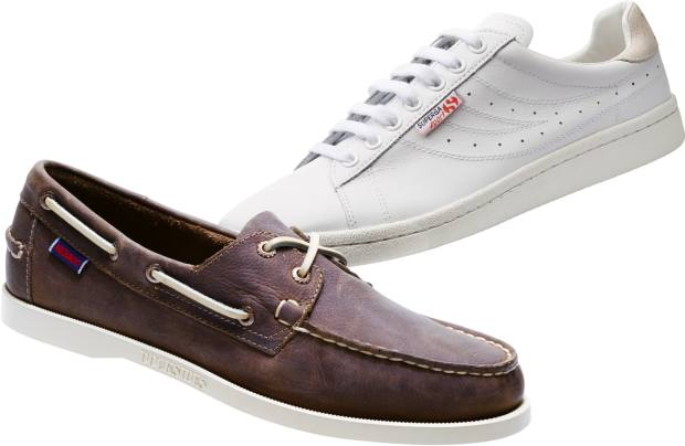 From left: Sebago leather Docksides, £115. Superga leather 2750 Classic shoes, £50