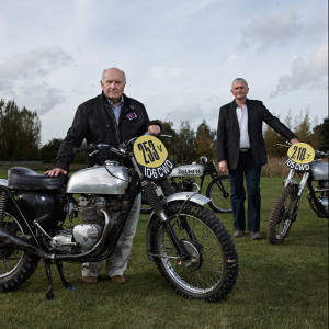 Collector Dick Shepherd (far left) with his 1962 Triumph 106 CWD, and motorcycle consultant Mike Jackson to the left of the 105 CWD Tiger 90, the most decorated International Six Days Trial bike of all time