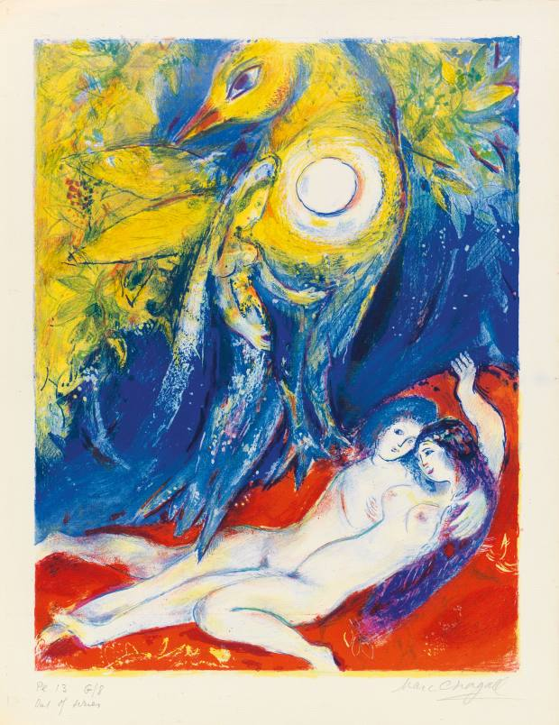 Scheherazade tells stories to the king, from Four Tales from the Arabian Nights, by Marc Chagall, deluxe edition only