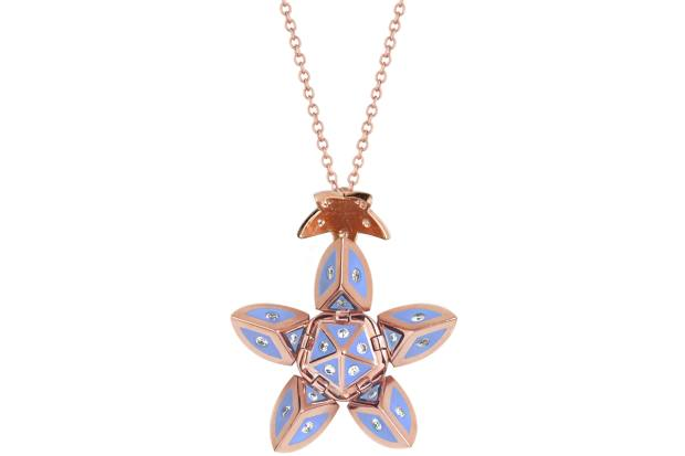 Santo rose-gold, diamond and enamel Alma Petal pendant, $5,420
