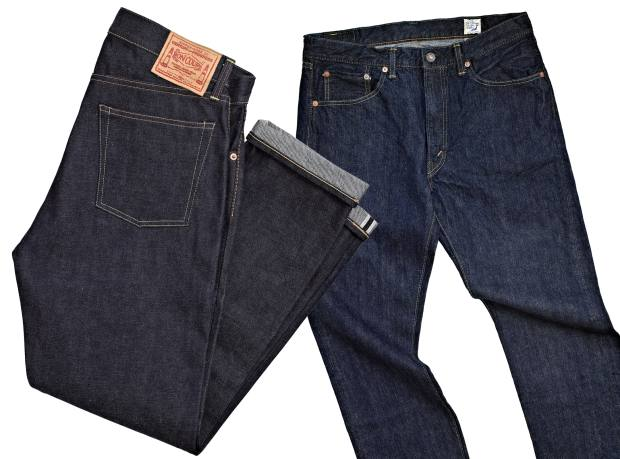 From left: Boncoura Z Denim jeans, £224. Orslow 107 Ivy Fit Denim jeans, £195