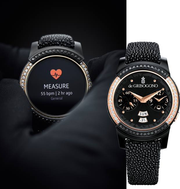 Gold, steel and diamond Samsung Gear S2 by De Grisogono smartwatch on shagreen strap, £13,100