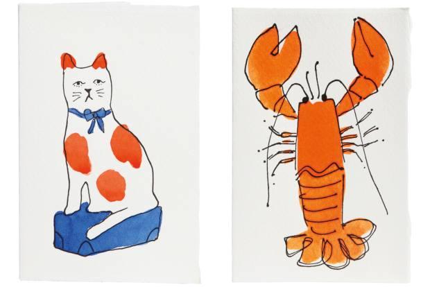 Scribble & Daub cat card, £4.95. Scribble & Daub lobster card, £4.95