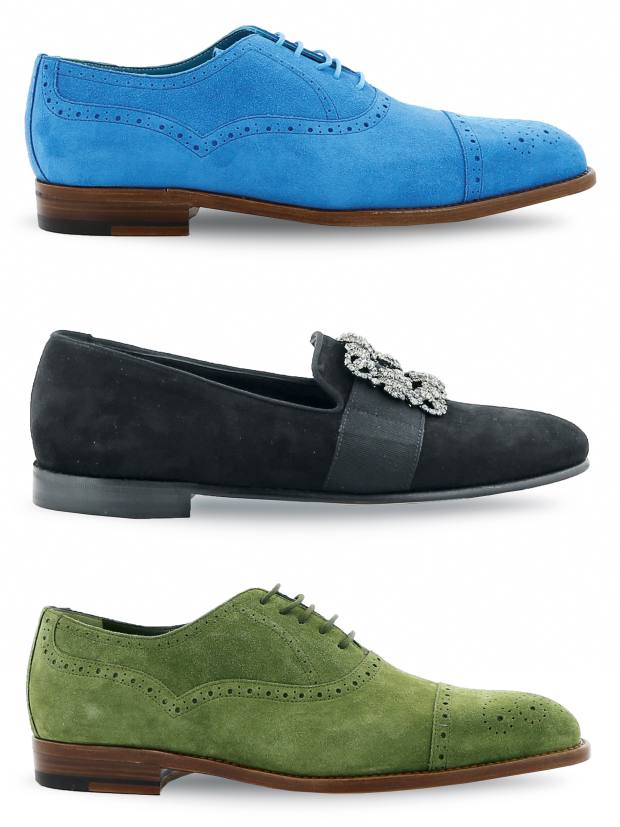 From top: suede Oxfords, £695, velvet slippers with jewel embellishment, £825, and suede Witney Oxfords, £695