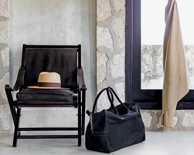 Coqui Coqui hideaway, in Mexico, with suede Bolsa Business bag, $8,000