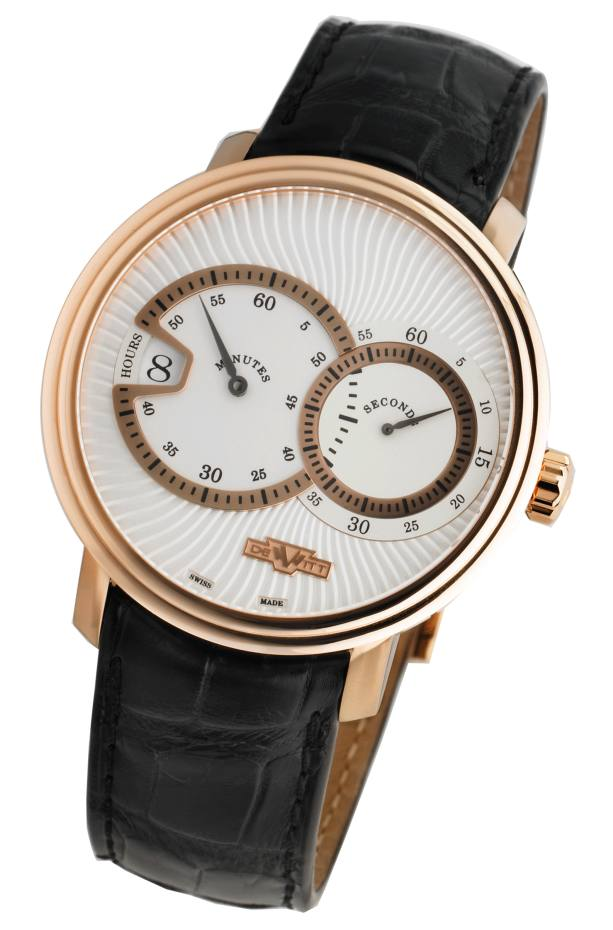 DeWitt Classic Jumping Hour watch in rose gold on alligator strap, £21,174