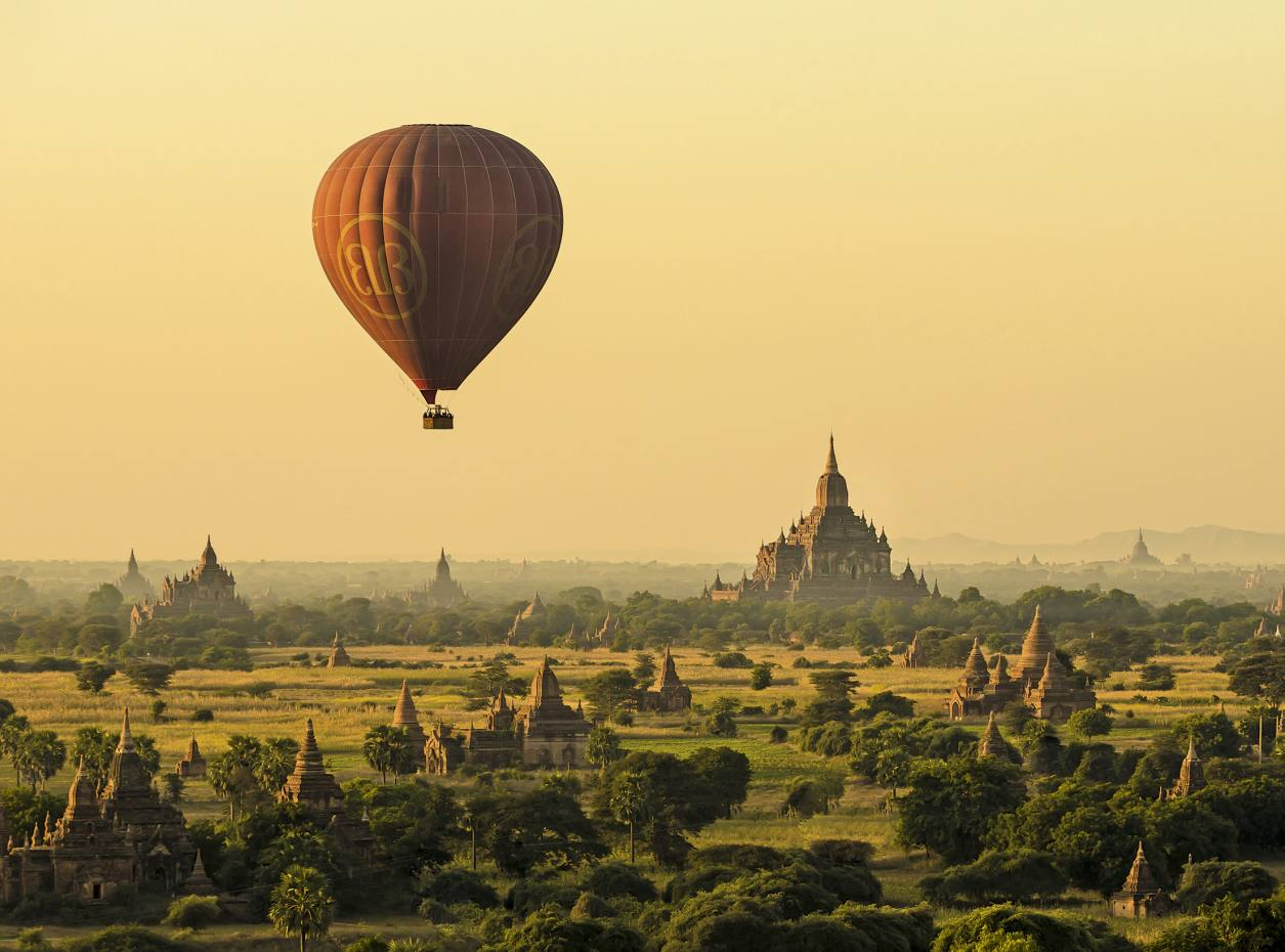 Ballooning over the temple complex in Bagan, Myanmar, with Eastern Safaris