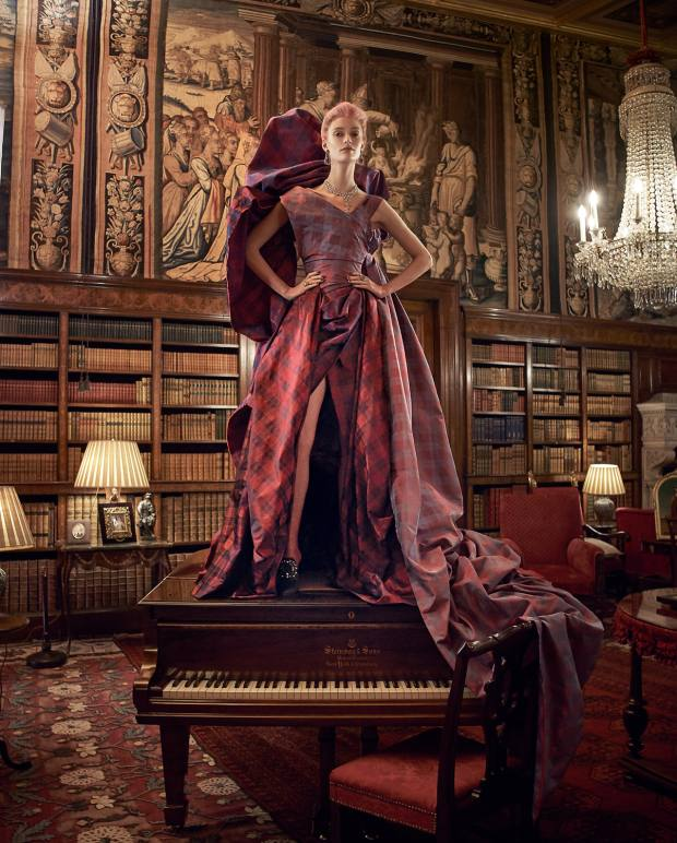 Vivienne Westwood Couture silk-mix jacquard Diva corset and stole, £4,250, silk jacquard Dovetail skirt, £2,900, and silk jacquard Bird of Paradise train, £10,600. UK Tights Oroblu Clara tights, £15.99. Manolo Blahnik satin Tilda heels with pearls, £835. Chopard white diamond, pink diamond and amethyst earrings, white gold and diamond necklace, (right hand) white gold, rose gold, diamond, ruby, blue sapphire, pink sapphire, amethyst and tourmaline ring, and (left hand) white gold, ruby, blue sapphire, pink sapphire, amethyst and tourmaline ring, all price on request