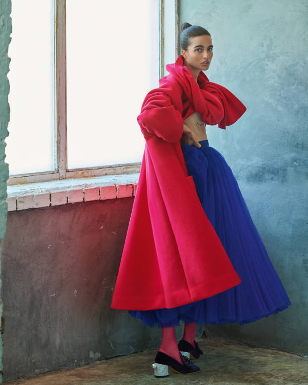 Dolce & Gabbana wool coat, £3,150, tulle skirt, £1,200, tulle tights, £95, and velvet, satin and pearl shoes, £975