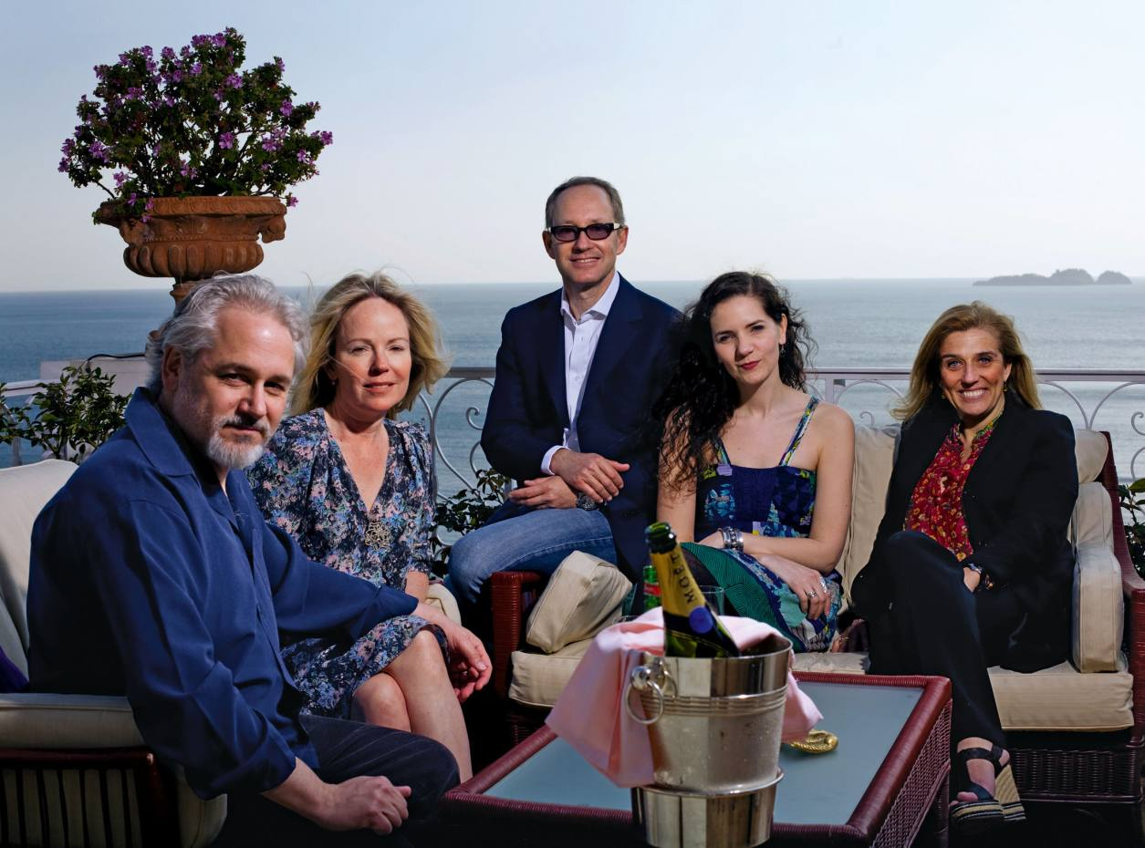 From left: Sirenland founders Michael Maren, Dani Shapiro and Hannah Tinti (second from right) with Antonio and Carla Sersale.
