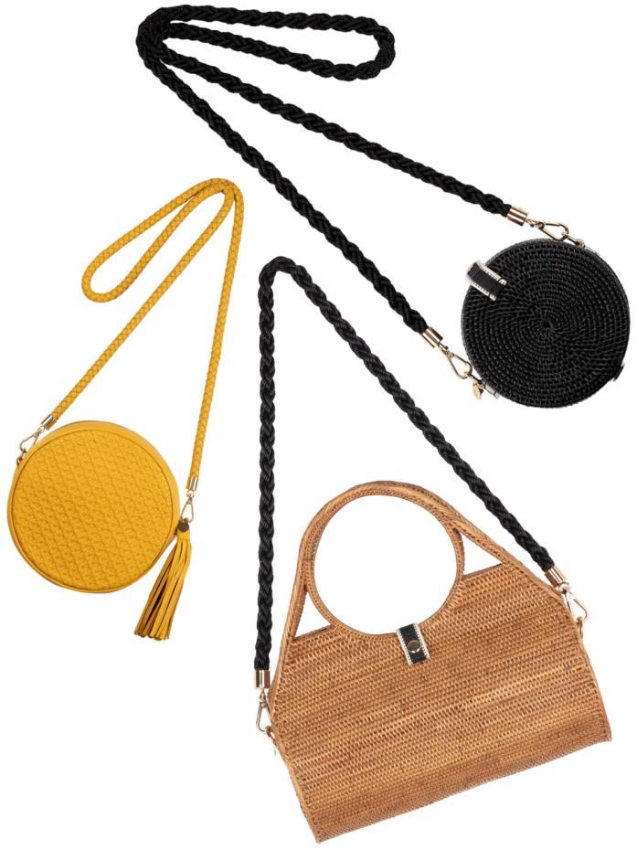 From left: Stelar Moyo Drum bag, £395; Maluku Vegan bag, £245; and Alor Vegan Drum bag, £110