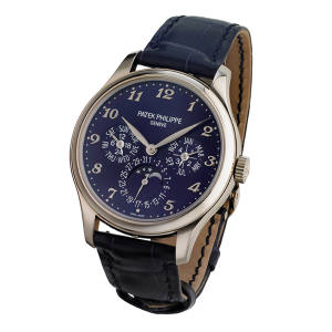 Patek Philippe white gold ultra-thin self-winding Perpetual Calendar watch with alligator strap, £63,380