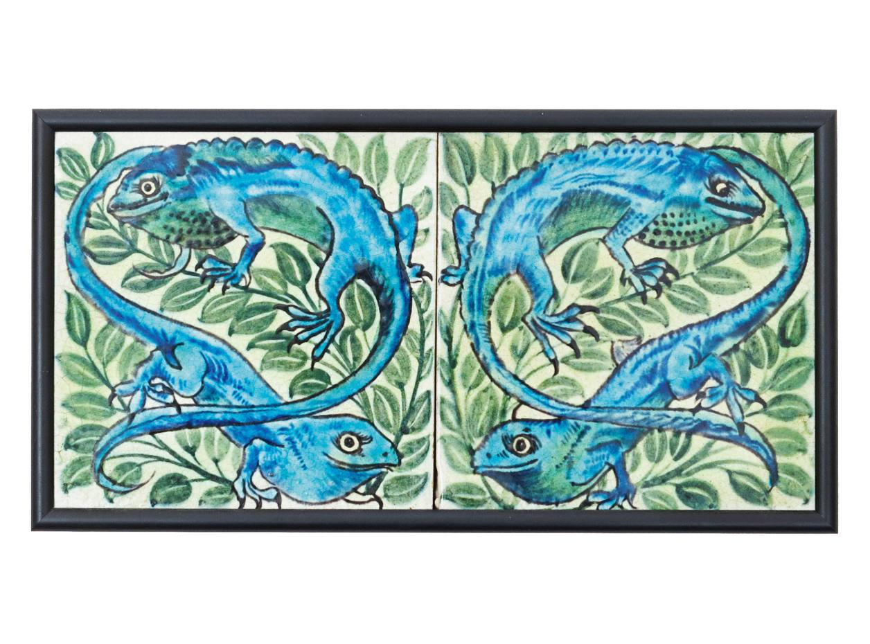 A pair of William De Morgan Sands End Pottery Chameleon tiles, sold for £7,320 at Woolley & Wallis