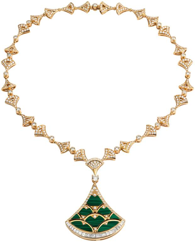Gold, diamond and malachite Divas' Dream necklace, price on request