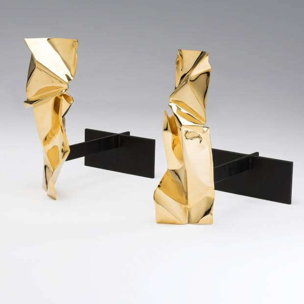 Fredrikson Stallard gold-plated bronze and steel Manhattan firedogs, £4,500