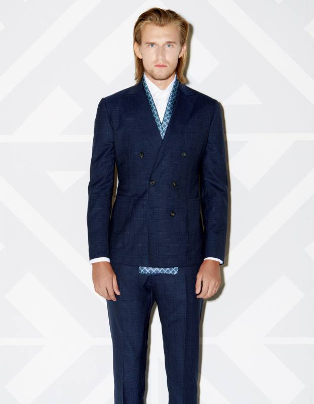 Hardy Amies wool jacket, £575, and matching trousers, £215