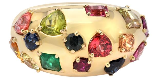 Retrouvaí Treasure Bomb ring with gemstones in 14ct gold, price upon request