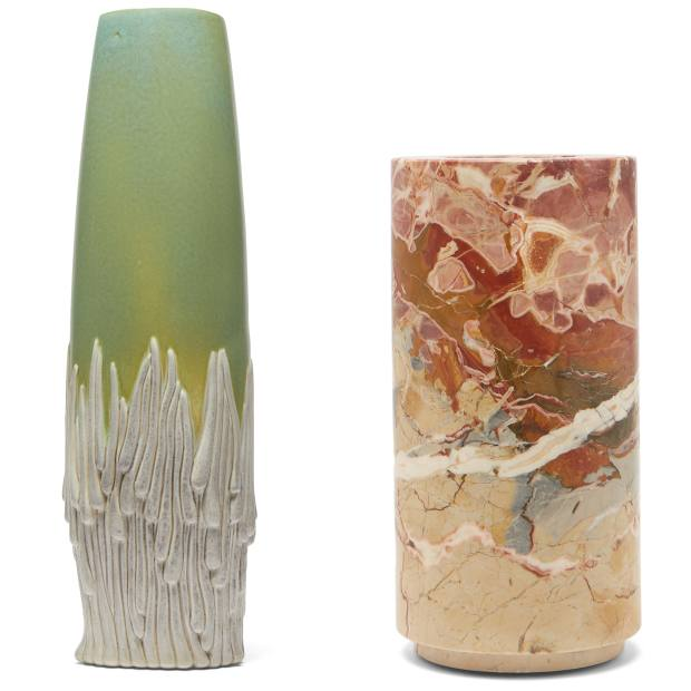 From left: L'Objet x Haas Brothers Mojave vase, £510, from matchesfashion.com. Michaël Verheyden marble Buzze vase, £850, frommatchesfashion.com