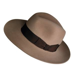 Lock & Co Hatters Bowie fedora in rabbit-fur felt with grosgrain band, £275. Also in green