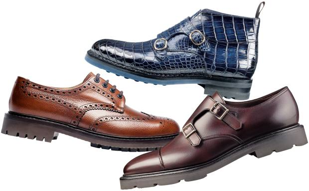 Clockwise from left: Church's leather McPherson Highland shoes, £390. Santoni crocodile ankle boots, €6,750. John Lobb leather William II monkstrap shoes, £895