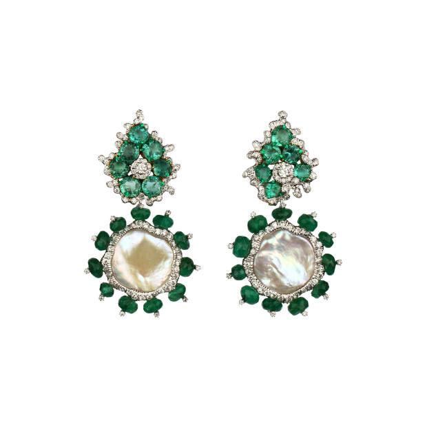 Gold, diamond, emerald and pearl earrings
