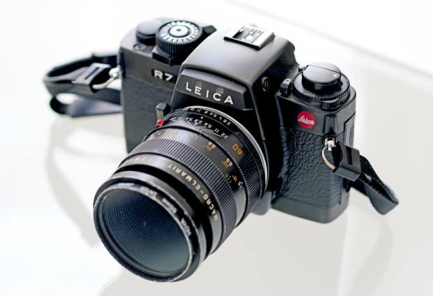 Her vintage Leica camera