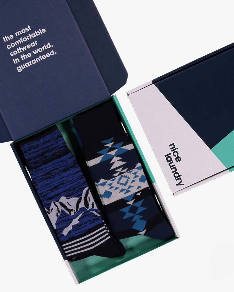 Nice Laundry offers a Build Your Box choice of six pairs of stylish socks of users' individual choosing for $59