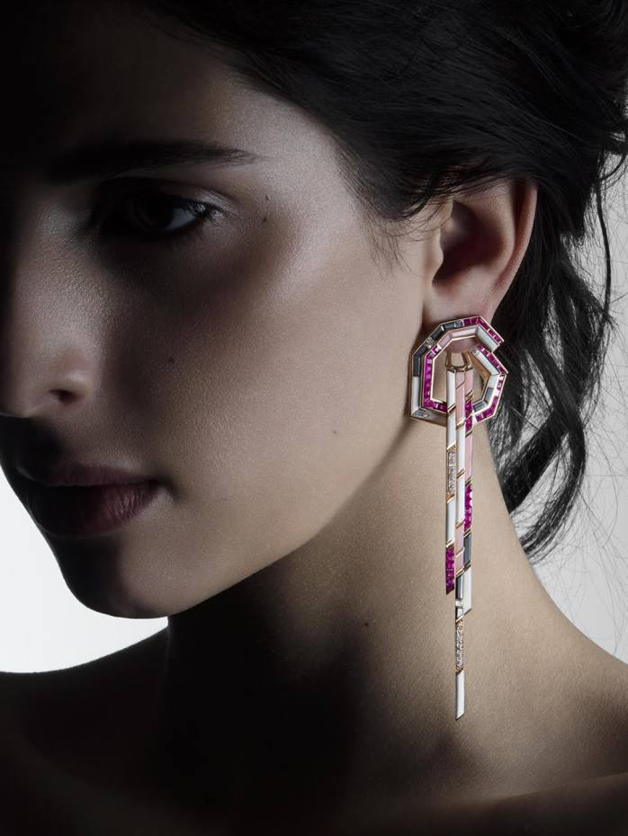 Tomasz Donocik pink opal, white agate, hematite, diamond and gold Dune earrings from the