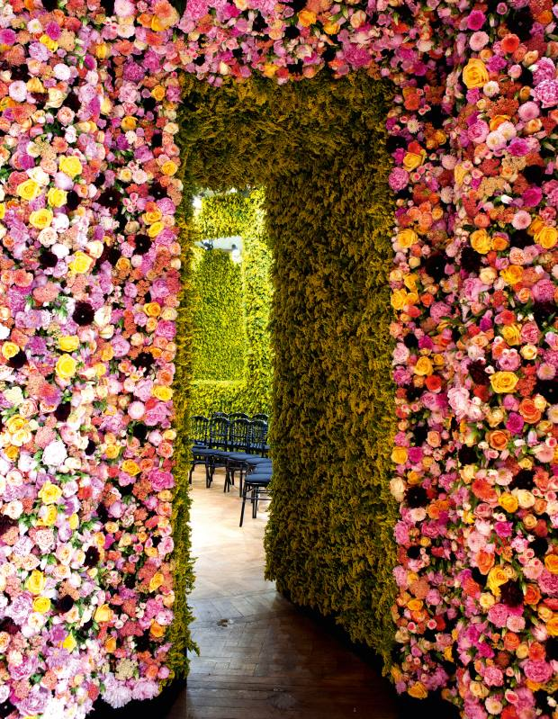 Colle's peony, goldenrod, dahlia, carnation and rose walls for the Dior a/w 2012 couture show