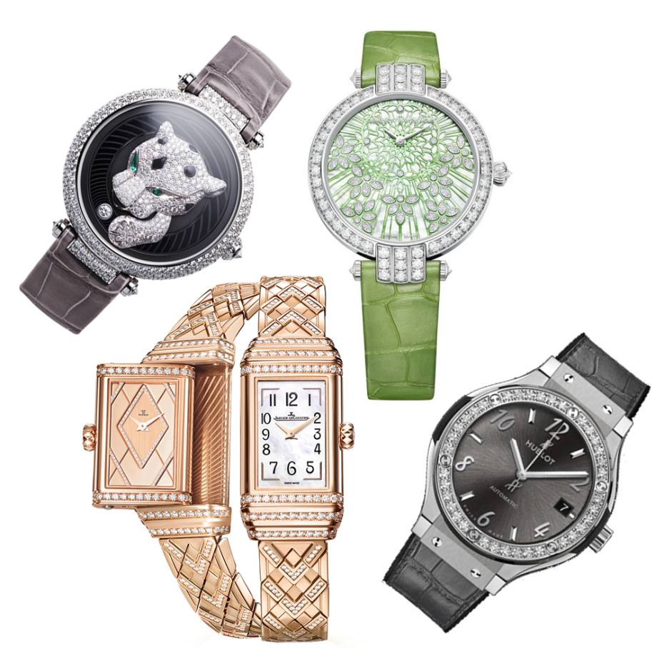 Clockwise from top left: Cartier Panthère Joueuse, from £157,000; Harry Winston Premier Precious Lace Automatic, £35,800; Hublot Classic Fusion, from £7,600; Jaeger-LeCoultre Reverso One Duetto Jewelry, £54,000