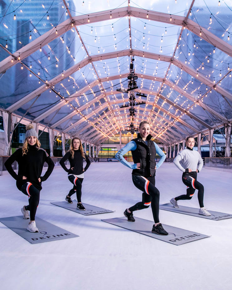 Define London will host a fitness class at Ice Rink Canary Wharf, followed by brunch at the nearby Plateau restaurant