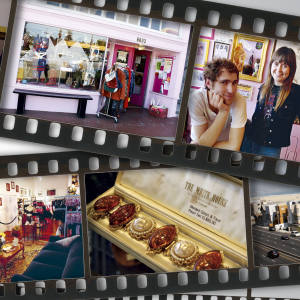 First strip, from left: shoes at Decades, LA. Down at Lulu's, Berkeley, outside and behind the counter. Second strip, from left: the boulevards of Beverly Hills. Dollhouse Bettie. Costume jewellery at Mr Goodie's. See text for details and addresses.