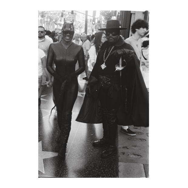 Catwoman and Zorro on Hollywood Boulevard. Taken by the author using a Leica IIIa