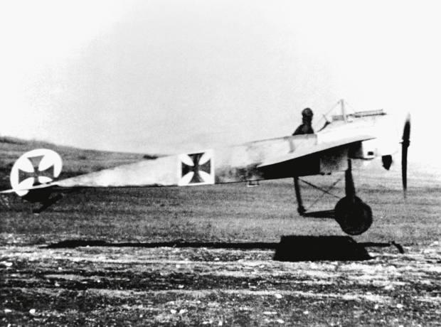 A German Air Service Luftstreitkräfte Fokker Eindecker monoplane taking off.