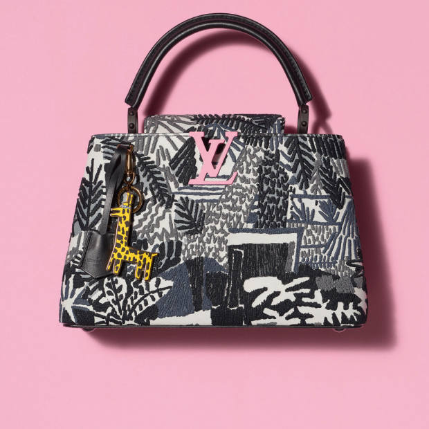 Jonas Wood's embroidered cowhide and calfskin Capucines bag with metal giraffe charm for Louis Vuitton, €6,500, is based on one of his paintings